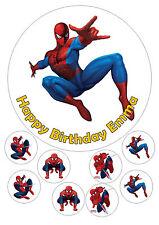 """Spiderman Iced Cake Topper Personalizzato 7.5"""" + 8 Cupcake Tops"""