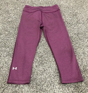 Under Armour Women's S Compression Capri Leggings Striped Pink Breathable G4