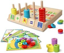 Wooden Puzzles Counting Toys, Montessori Preschool Learning Educational Math Toy