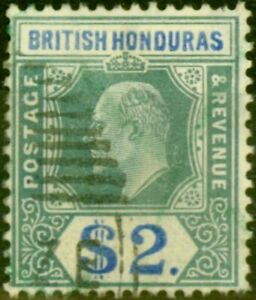 British Honduras 1907 $2 Grey-Green & Blue SG92 Fine Used