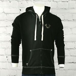 Mens True Religion Zip Hoodie in Black Classic Fit Hooded Jacket size S - M