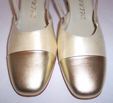 Delman Shoes 9.5 AAA Ivory Satin Gold Cap Toe Slingbacks Pumps Heels New NWOB