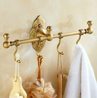 Luxury Towel Hooks Antique Brushed Brass Wall Mount Single Bath Towel Bar 4 HOOK