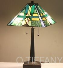 """Tiffany Style Stained Glass Mission Lamp """"Stratmore"""" w/ Metal Base"""