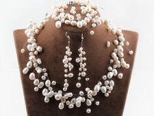 3-teil Collier Set Süßwasser Zuchtperlen Hochzeit 5-10mm Perlen Handarbeit NEU