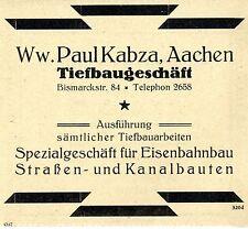 WW. Paul kabza Aquisgrán ferrocarril-u. ingeniería civil histórica publicitarias de 1926