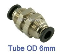 5pcs Pneumatic Bulkhead Union Push In To Connect Fitting Tube OD 6mm One Touch