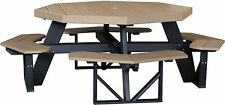Outdoor Poly Lumber Octagon Picnic Table WEATHERWOOD & BLACK - Amish Made
