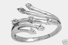 Genuine Diamond Ring 14K Solid White Gold
