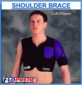 Floprene Single Shoulder Brace Support Black Medical Health Arm Protection Gear