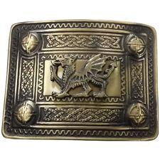 SH Scottish Kilt Belt Buckle Welsh Dragon Antique Finish Highland Celtic Buckles