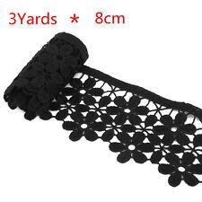 3yd Flower Embroidered Crochet Trims Lace Edge Trim Craft Wedding Black 8cm