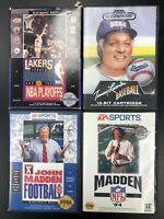 Lot of 4 CIB Sega Genesis Sports Games Complete in Box Madden 94 Baseball NBA