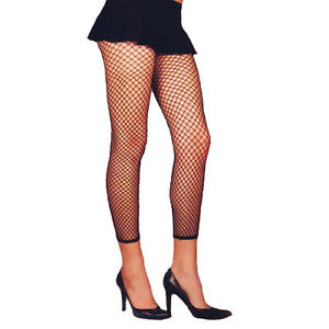 """Fence Net Leggings"" Footless Fishnet Plus Sz Queen Black Elegant Moments 1516 Q"