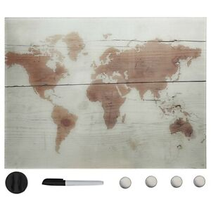 Magnetic Glass Board Wall Mounted Writing Dry Erase Glassboard Map Design