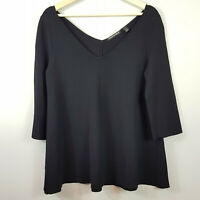 [ COUNTRY ROAD ] Womens Black Milano Trapeze Knit Top  | Size XS or AU 8 or US 4