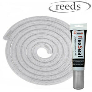 8mm Stove Rope White Door Seal Optional Premium Glue 75ml Heat Resistant Rope