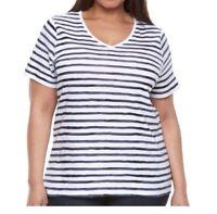 Croft & Barrow Women's Classic Tee Shirt Short Sleeve V-Neck Plus 1X 3X 4X NWT