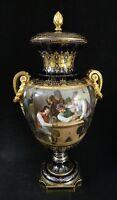 "Ant. Royal Vienna Monumental vase, Royal Cobalt Blue - 23k trim. 25"" t x 12"" w"