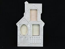 Vintage Fitz & Floyd Ivory Glazed Ceramic Triple Photo Victorian House Frame