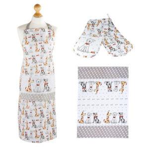 Cotton Tea Towel Apron Double Oven Gloves Gift Set Women Men Dog Lovers & Owners