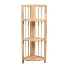 3 Tier Corner Shelf Unit Folding Storage Rack Tropical Hevea Wood - Brand New