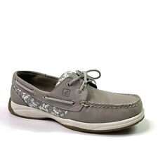 Sperry Top Sider Womens Gray Leather Floral Deck Boat Loafers Shoes 7.5 M