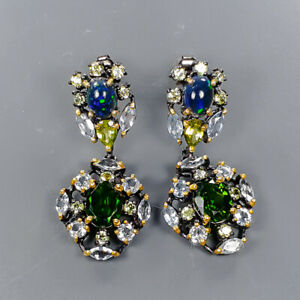 Jewelry Unique Design Chrome Diopside Earrings Silver 925 Sterling   /E57088