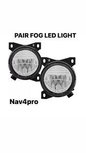 2008-2017 kenworth t660 chrome clear housing led fog light pair oe style