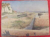 Piccolo Pittura Olio su Cartone Segno A.Pietra Faro Vista Bretonne (2)
