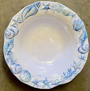 Sigrid Olsen Blue Sea Shell Coastal MELAMINE Cereal Bowls Set 4