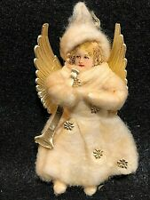 German Cotton Angel W/ Dresden Wings, Stars, And Horn Christmas Vintage