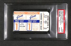 "1962 World Series WHITEY FORD ""10th WIN WS MLB RECORD"" game 1 ticket PSA Wow!!!"