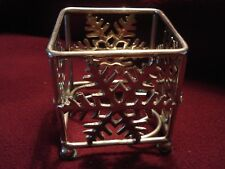 """Silver Metal SNOWFLAKE candle holder 3"""" square opening"""