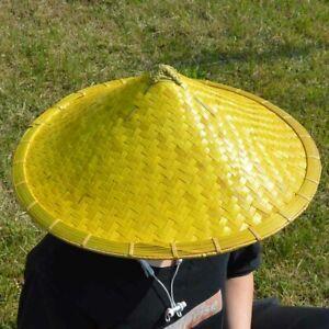 "Oriental Bamboo Hat Straw Cone Garden Fishing Hat  Rice Hat Samurai hat Dia. 16"""