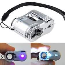 60 fach LED Mikroskop MINI Vergrößerungsglas Geldscheinprüfer Licht Lupe Neu ENE