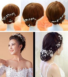 Braut Haargesteck mit 11 Perlen Rispen  Strass Haarschmuck Hochzeit Kommunion
