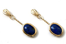 9ct Gold Lapis Lazuli short Drop earrings Gift Boxed Made in UK Xmas Christmas