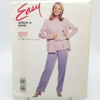 Easy Plus Size Casual Top Jacket Pants Sewing Pattern 8502 McCalls 16 18 20 22