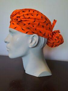 Women's Scrub Bouffant Hat Washable Reusable Handmade Orange Spiders Halloween