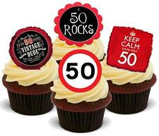 Novelty 50 50TH RED BLACK BIRTHDAY MIX 12 STAND UP Edible Cake Topper Special