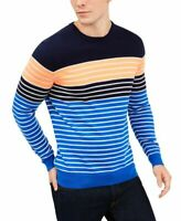 Club Room Mens Sweater Navy Blue Orange Small S Knit Striped Crewneck $55 521