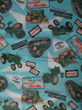 VINTAGE JOHN DEERE TRACTORS ADVERTISEMENTS TRACTOR BLUE COTTON FABRIC BTHY OOP