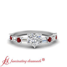 1.25 Carat Heart Shaped Diamond And Ruby Gemstone Engagement Ring With Baguette