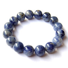 Natural Sodalite Gemstone Beads Bracelet Royal Blue White Meditation Yoga Chakra