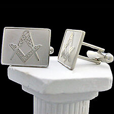 14k White Gold EP Masonic Mens Designer Cufflinks - NEW | Mason Regalia