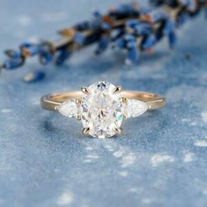 2.30 Ctw Oval & Pear Cut Diamond 3-Stone Engagement Ring 14k Rose Gold Over