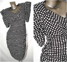 POLKA DOT PIN UP Dress Pencil Wiggle ROCKABILLY Retro Ruched CUTOUT Back XS-S 10