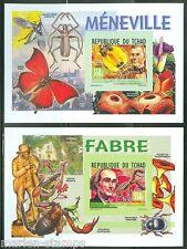 CHAD 2014 FELIX MENEVILLE & JEAN HENRI FABRE  SET OF TWO SOUVENIR SHEETS MINT NH