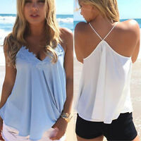 Fashion Women Summer Chiffon Vest Sleeveless Shirt Blouse Casual Vest Tank Tops